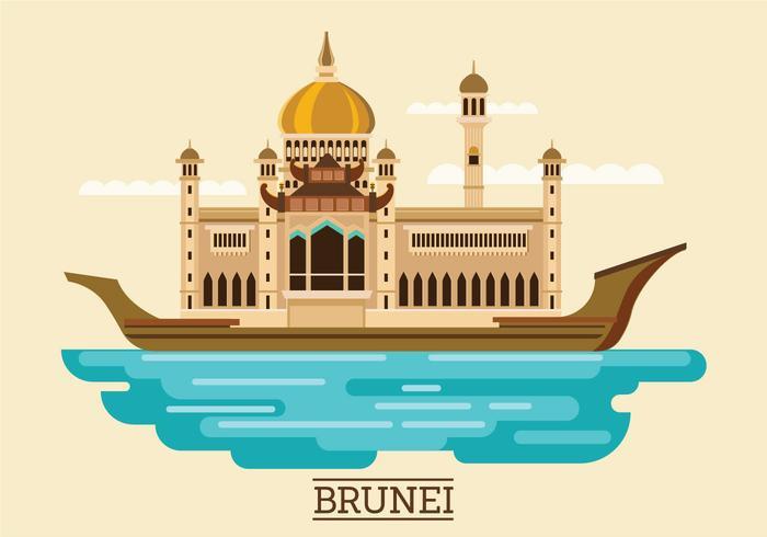 Vector Illustration of Sultan Omar Ali Saifuddien Mosque in Brunei