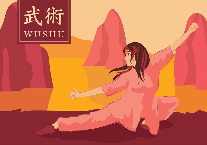 Wushu Martial Cartoon Freier Vektor