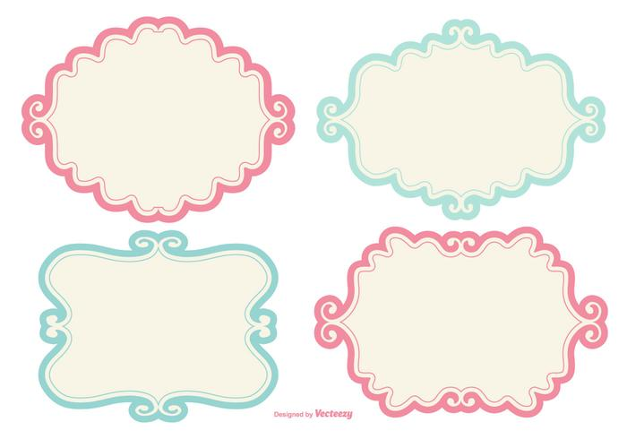 Cadres d'étiquettes de doodle mignons