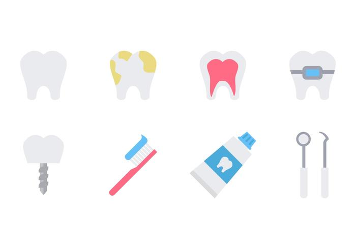 Dentist Icons Flat Vector