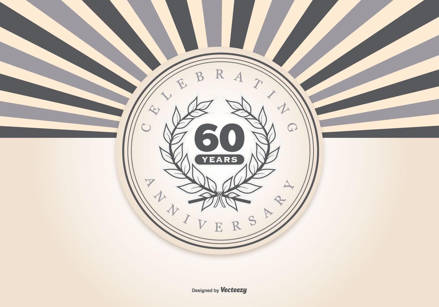Retro Style 60th Anniversary Illustration Download Free