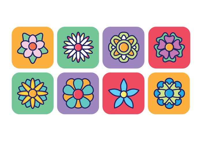 Flower Icon Pack In Rounded Square Background