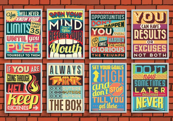 Kleurrijke Motiverende Posters Vector