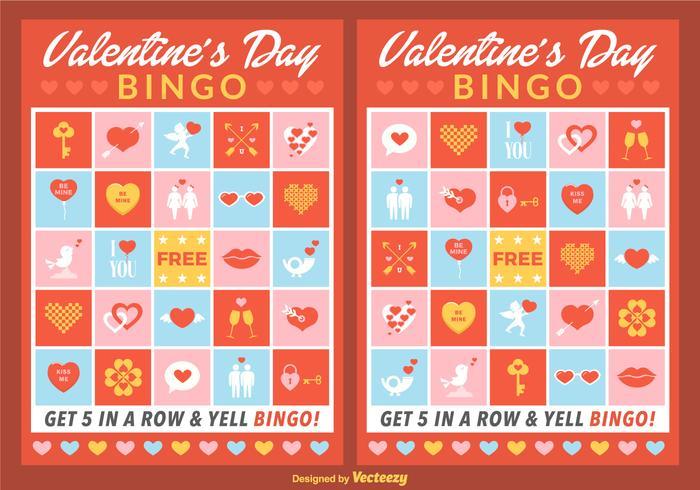 Cartões do Bingo do Valentim do vetor