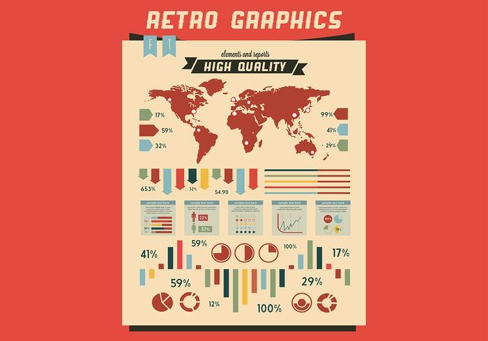 Retro färgstark grafikvektor