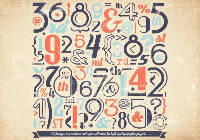 Colección de números descoloridos