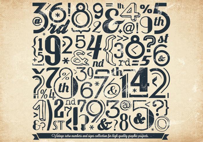 Números de estilo de periódico vectoriales vector