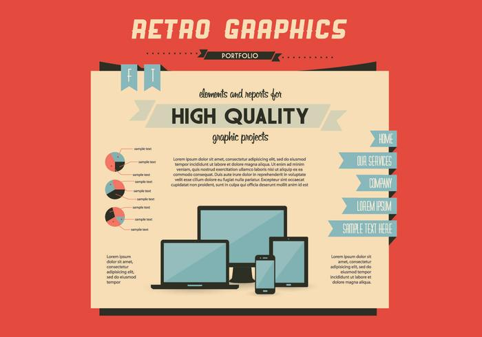 Retro Graphics Homepage Vector