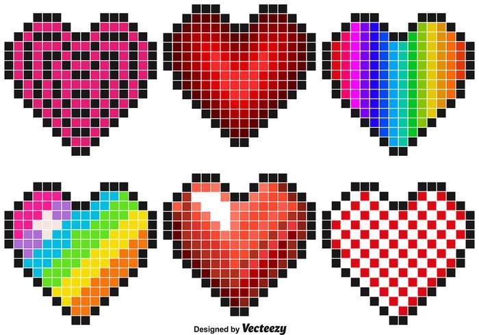 Vector Set Of Pixel Hearts