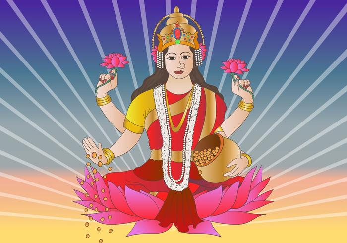 Déesse hindoue Lakshmi Bhagwati vecteur