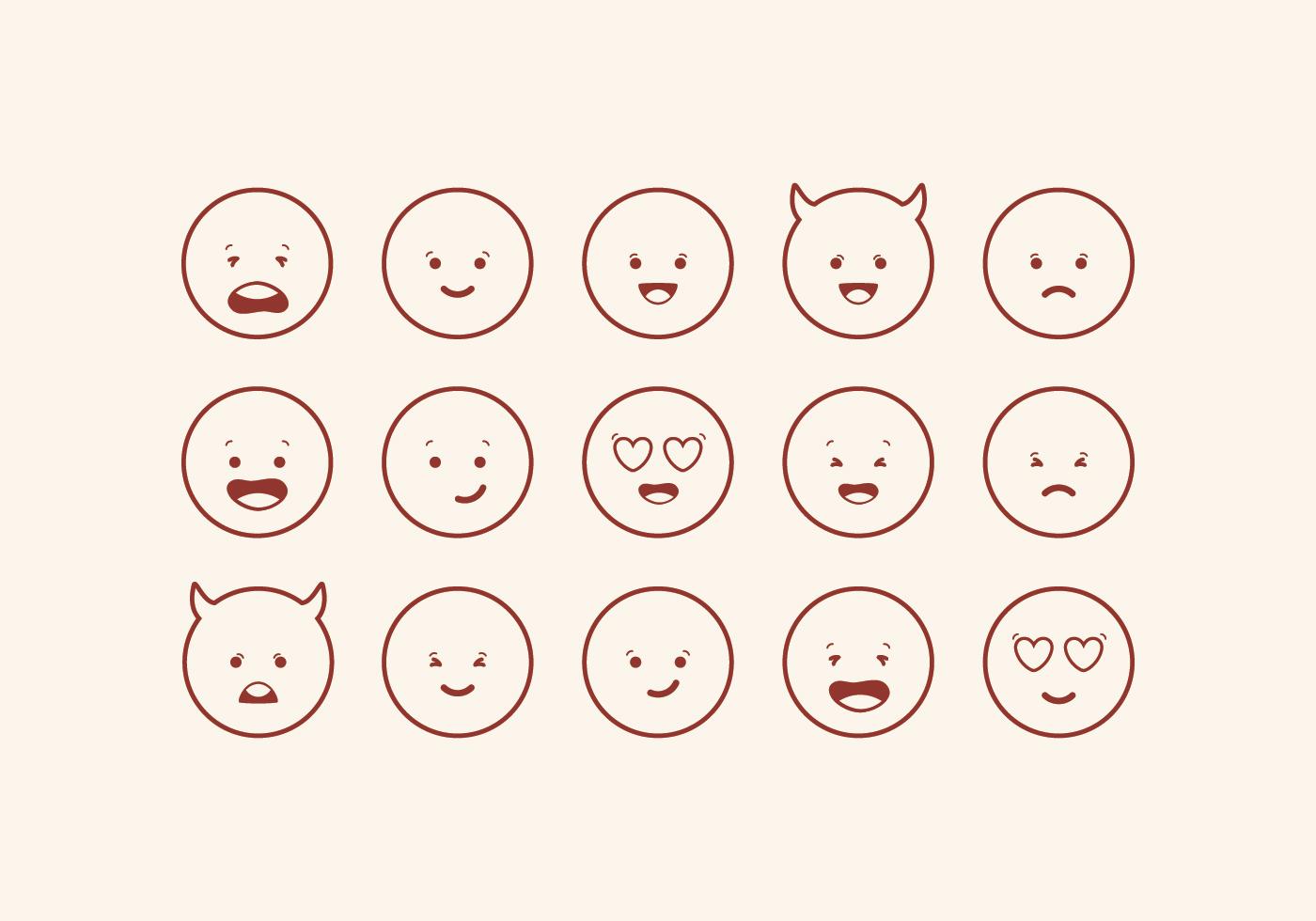Set Of Cartoon Childrens Faces Stock Vector Art More: Vector Cute Emoticons Set