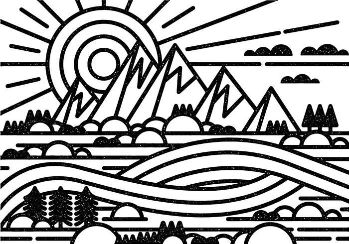 Minimal paisaje de montaña vector