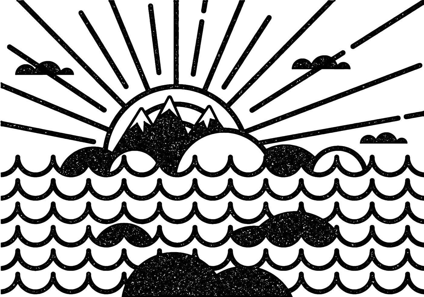 Minimal seascape vector download free vector art stock for Minimal art vector