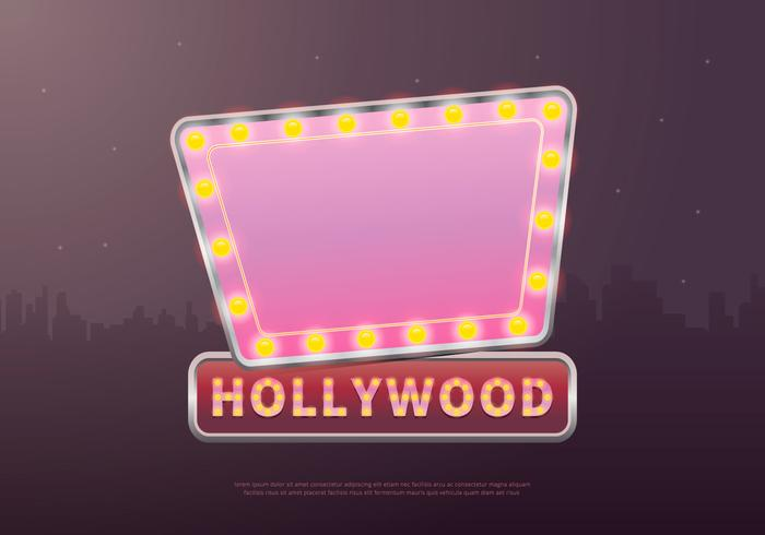 Pink Hollywood Lights Movie Sign Template