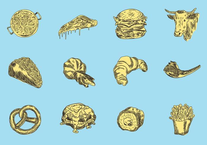 Set of Food Illustration Sketch Vector