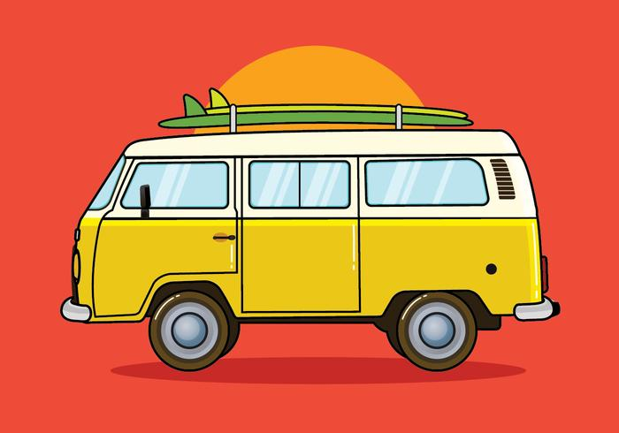 Hippie Bus Vector Illustration