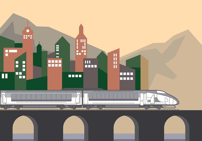 Train Background City Vector