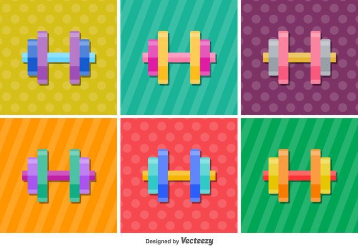 Dumbell brillante iconos de vectores