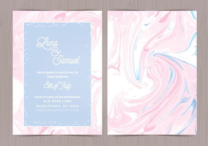 Vector Marble Effect Wedding Invite