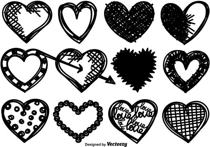 Colecção de corações desenhados à mão - Vector