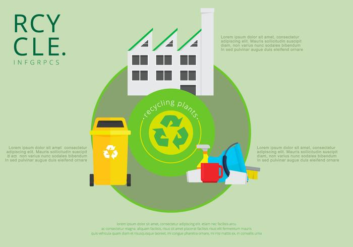 Landfill Trash Recycle Infographics Template vector