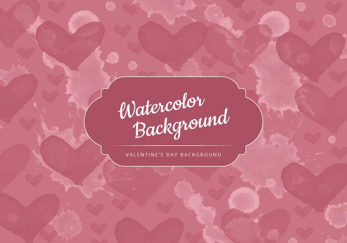 Vector Watercolor Hearts Valentine's Day Background