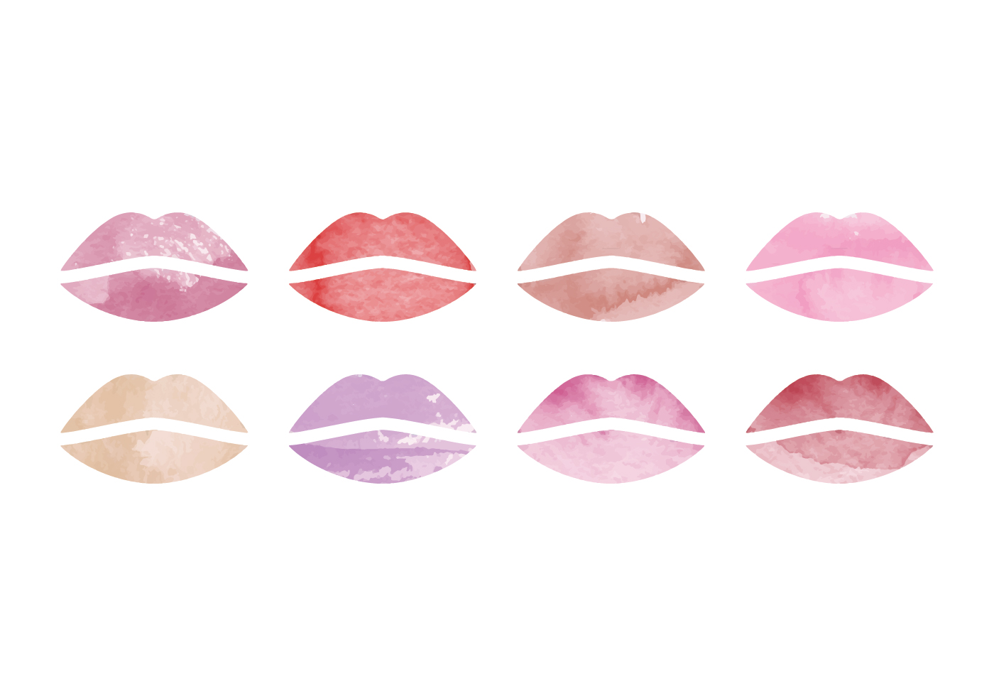 vector watercolor lips collection download free vector
