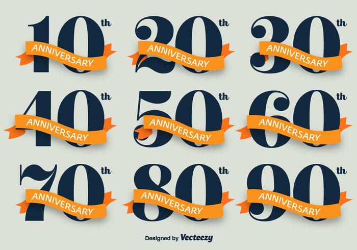 Aniversario Vector Icon Set