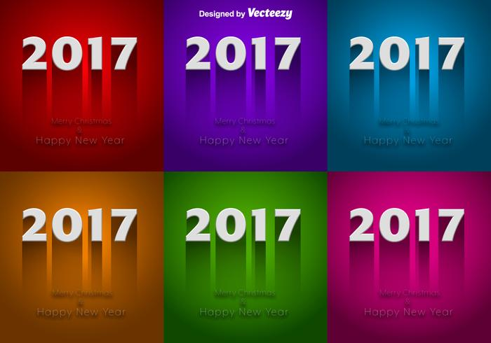 Set Of Colorful Backgrounds For 2017 New Year Celebration