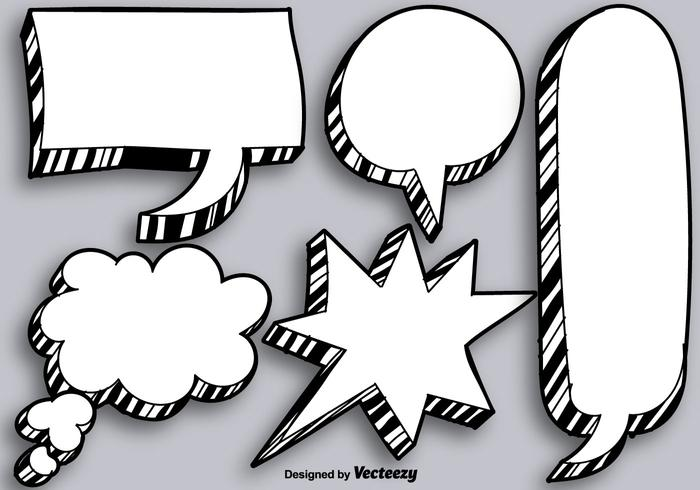 Vector Hand Drawn Blank Speech Bubbles