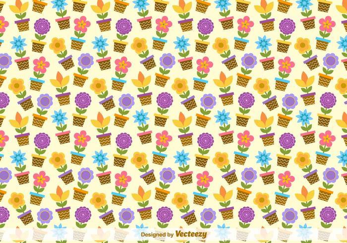 Flower Buckets Vector Pattern