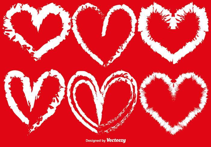 Vector Hand-Drawn Hearts Set
