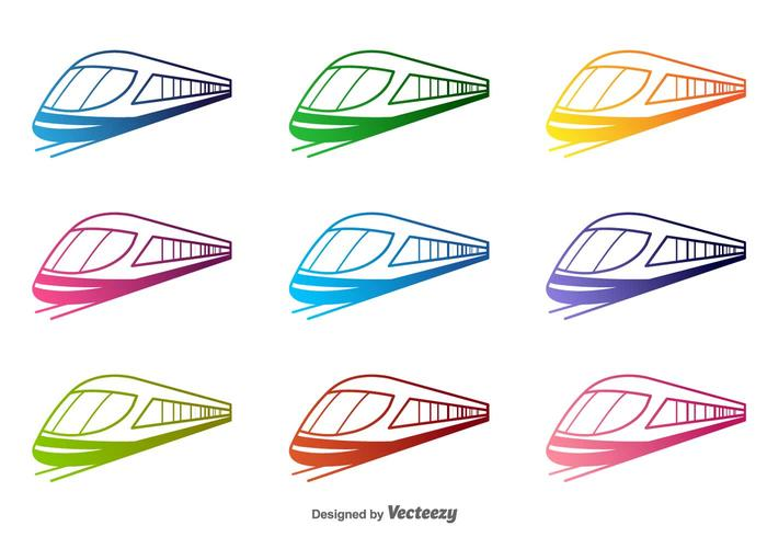 Tren colorido del vector Siluetas