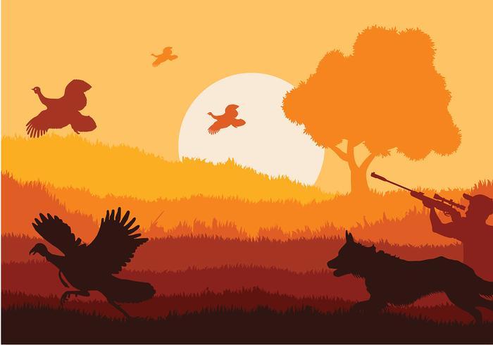 Wild Turkey Sunset Vector