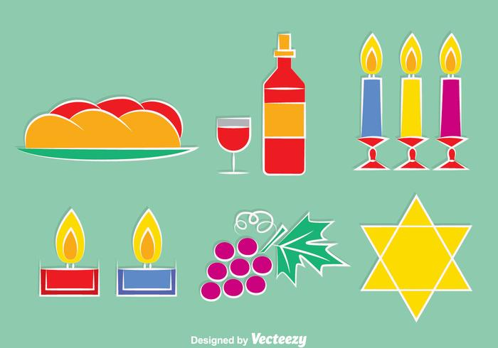Shabbat Element Icons Vector