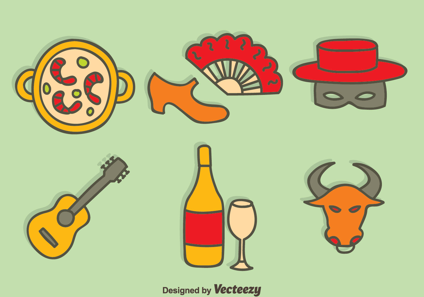 hand drawn spain tradition element vector download free