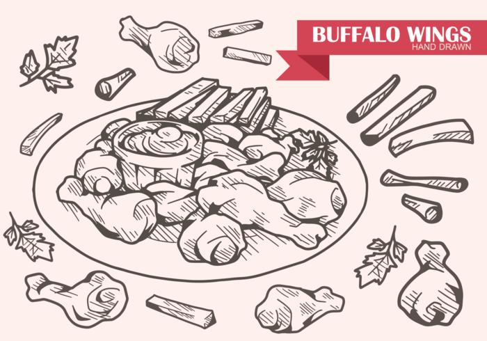 Hand gezeichnet Buffalo Wings