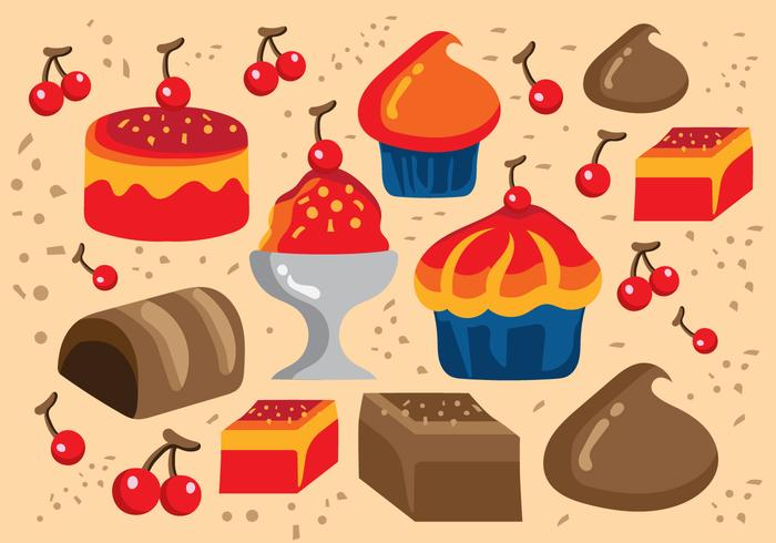 Desserts en Sweets Illustratie vector