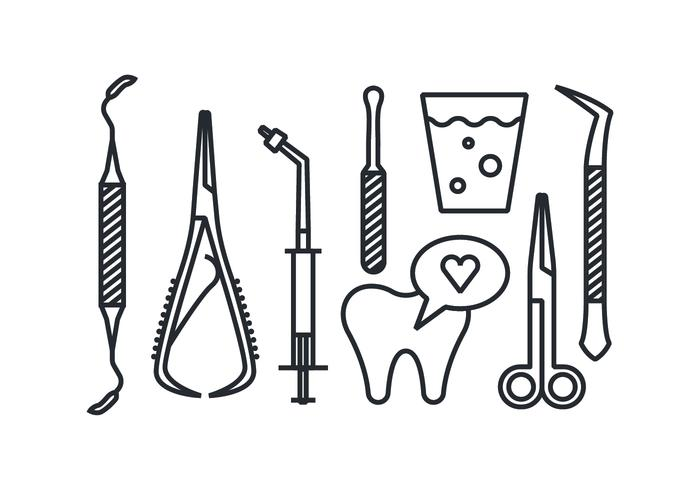 Dentist tool vector icons