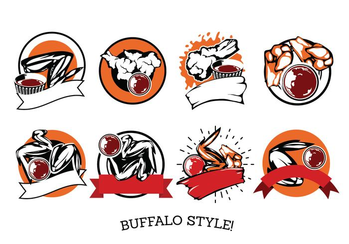 Vector Label Buffalo Wings with Sauce