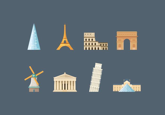 Free Europe Landmark Vector Icons