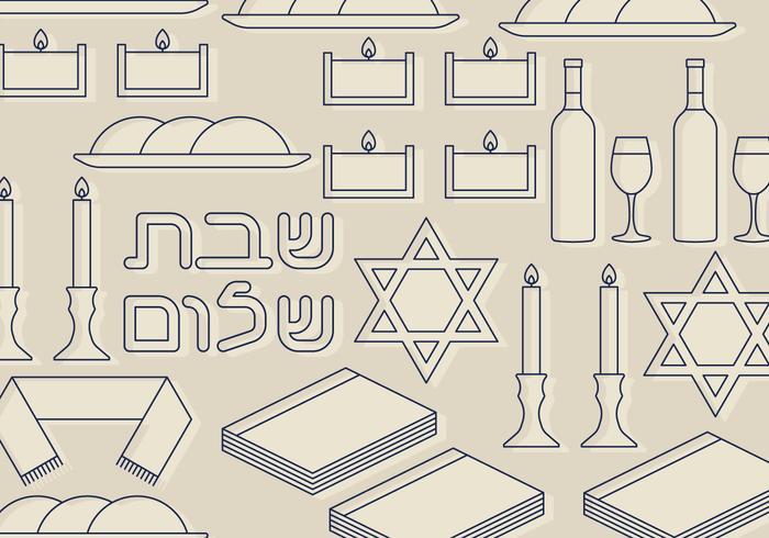 Shabbat Symbols Set vektor