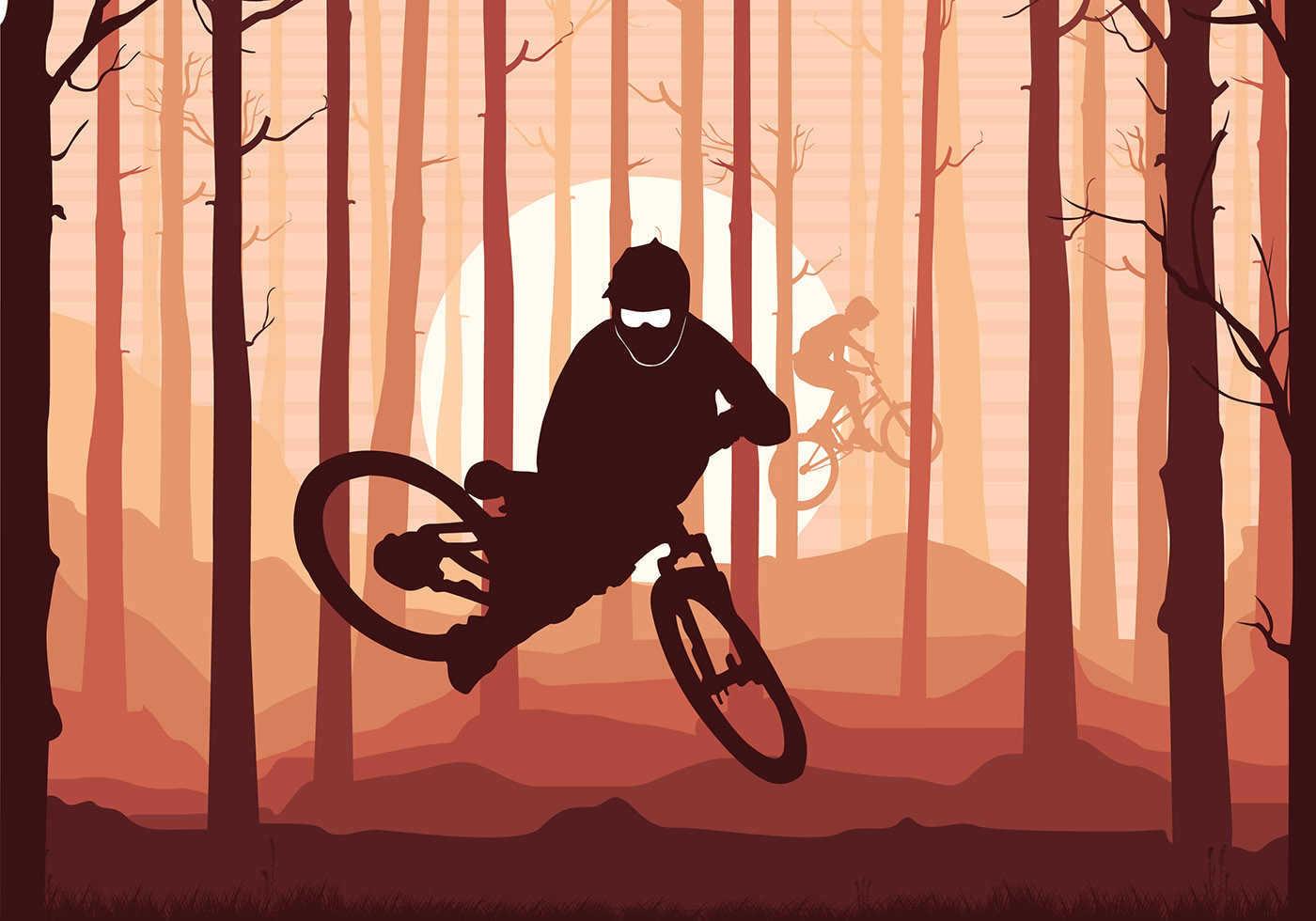 Bike Trail Silhouette Free Vector Download Free Vector