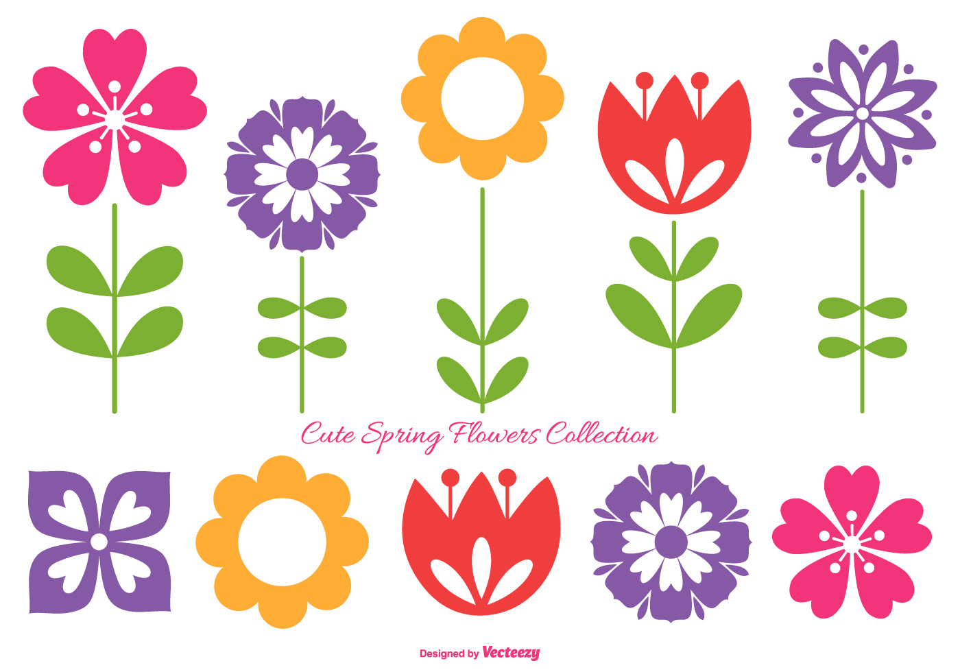 Cute Spring Flowers Collection Download Free Vector Art Stock