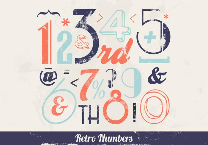 Retro Colorful Numbers Vector
