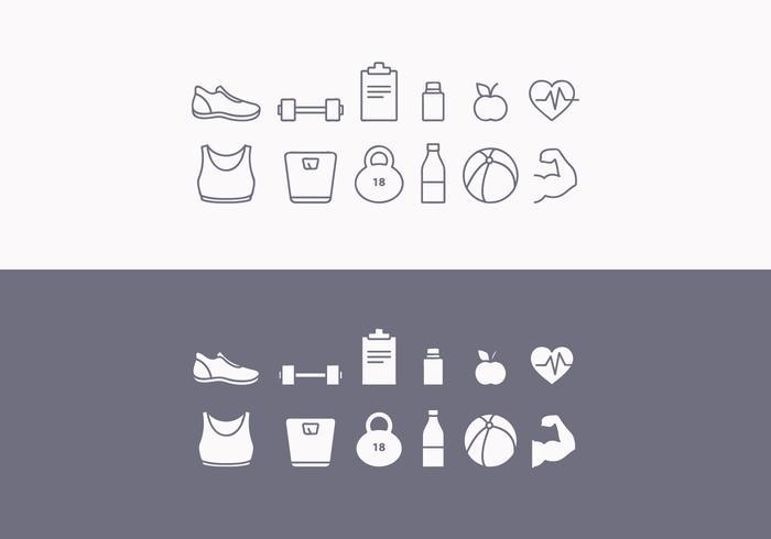 Vector fitness pictogram set