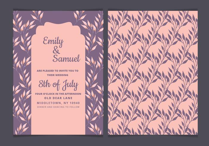 Vector Purple Floral Wedding Invitation
