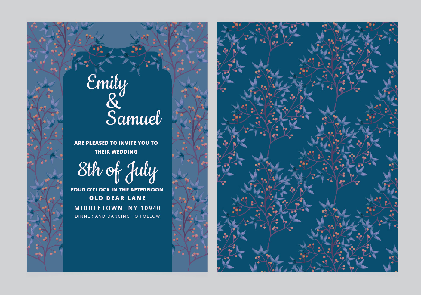 Dark Blue Wedding Invitations: Dark Blue Wedding Invite Free Vector Art