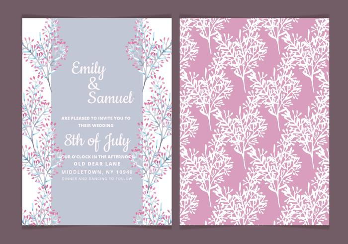 Vector Delicate Branches Wedding Invitation