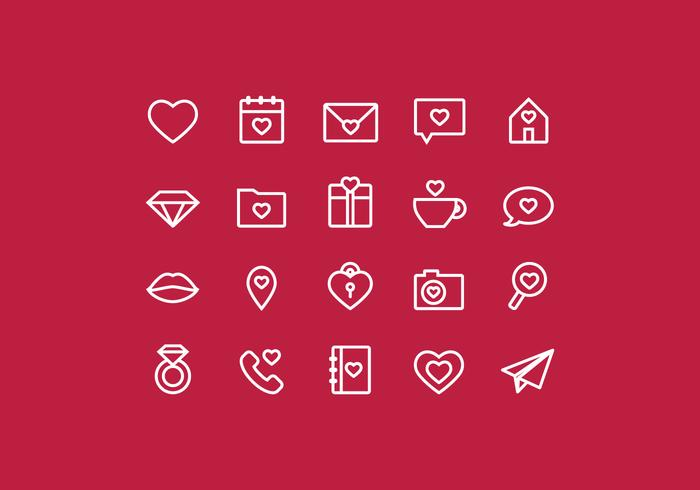 Vector Outline Valentine's Day Icons